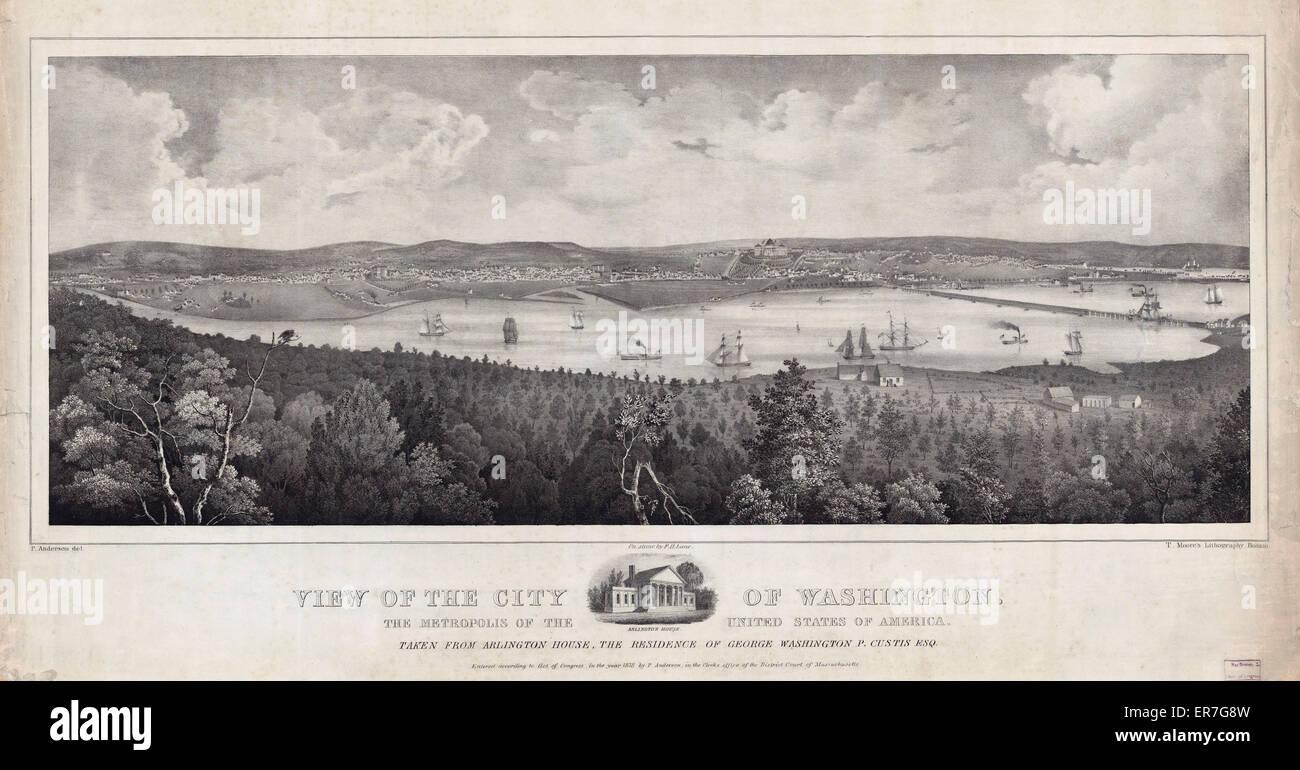 Vista de la ciudad de Washington, la metrópolis de los Estados Unidos de América, tomadas desde Arlington Imagen De Stock