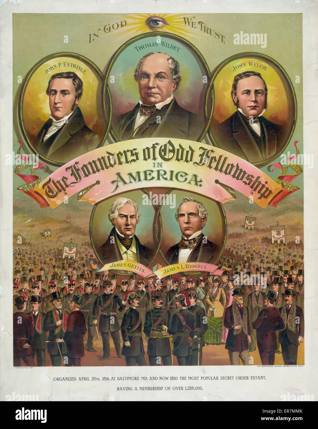 Los fundadores de la odd fellowship en Estados Unidos. Fecha c1891 Abr 27. Imagen De Stock