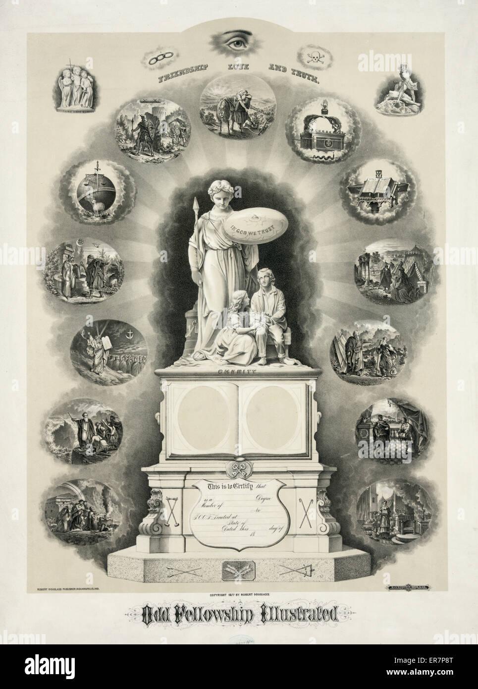 Becas impar ilustrado. Imprimir mostrando una gran estatua etiquetada en la caridad que es un certificado en la Imagen De Stock