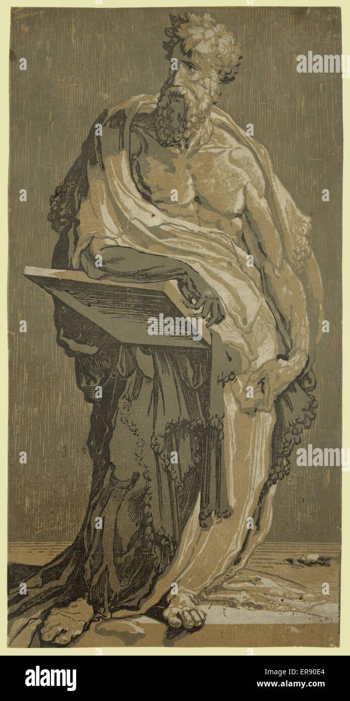 Un apóstol. Imprimir muestra un hombre barbado de pie. Fecha entre 1500 y 1552. Foto de stock