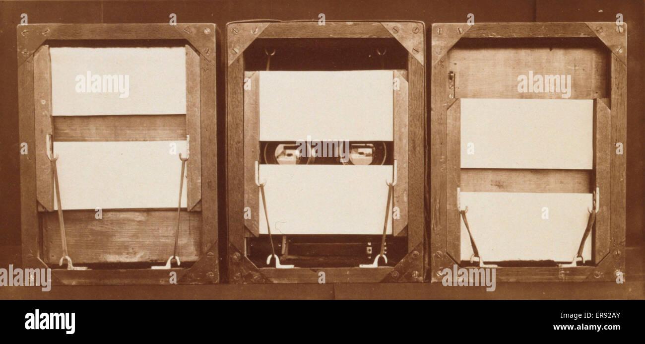 Parte delantera de electro-persianas, con posiciones de grupos antes, durante y después de la exposición. Imagen De Stock