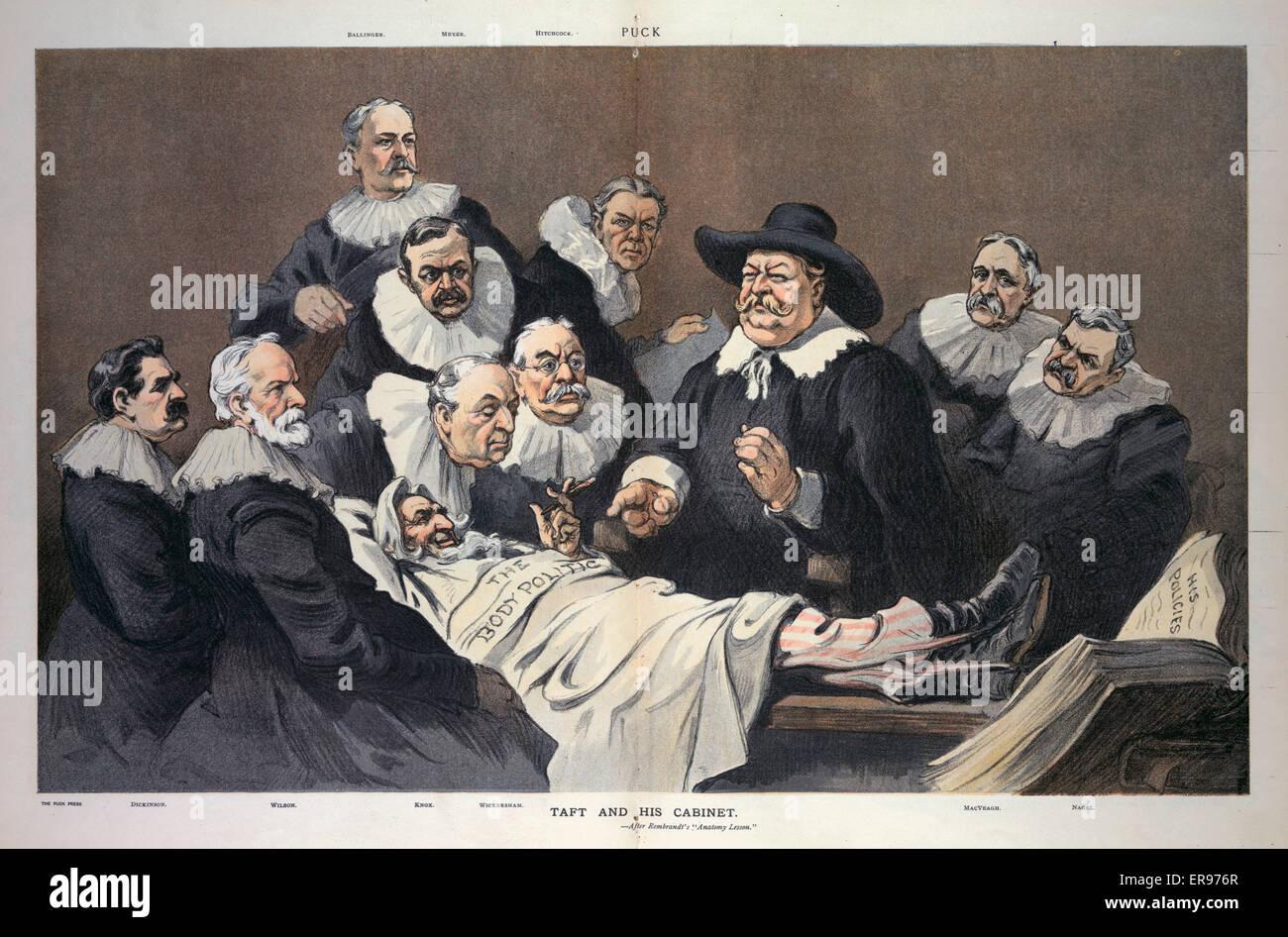 Taft y su Gabinete, tras la Lección de Anatomía de Rembrandt. La ...