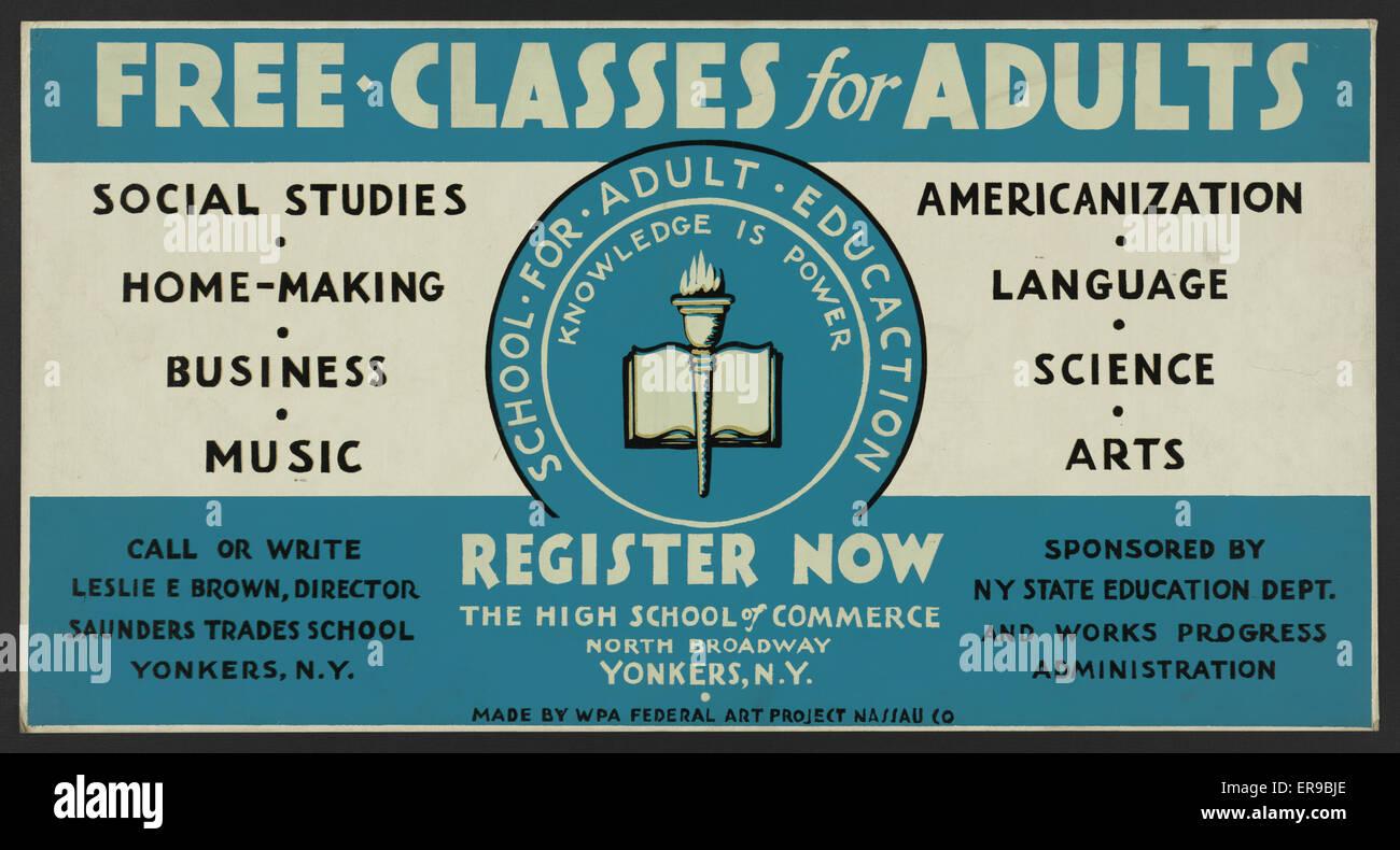 Clases Gratis para Adultos - regístrese ahora. Cartel anunciando ...