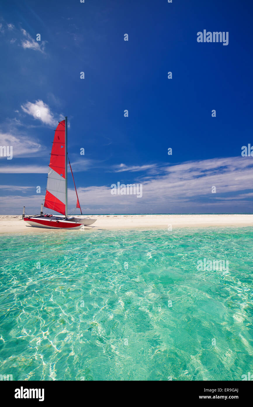 Velero con Red Sail en la playa de isla desierta Imagen De Stock