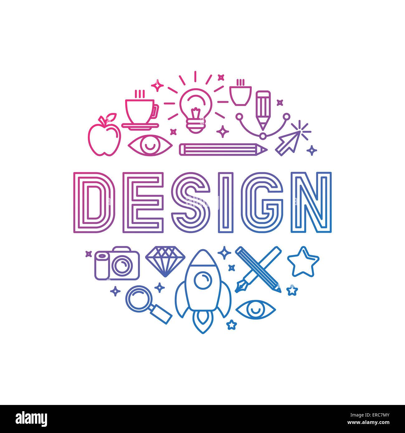 Concepto de diseño de logotipo lineal - Ilustración con iconos y signos relacionados con el diseño Imagen De Stock