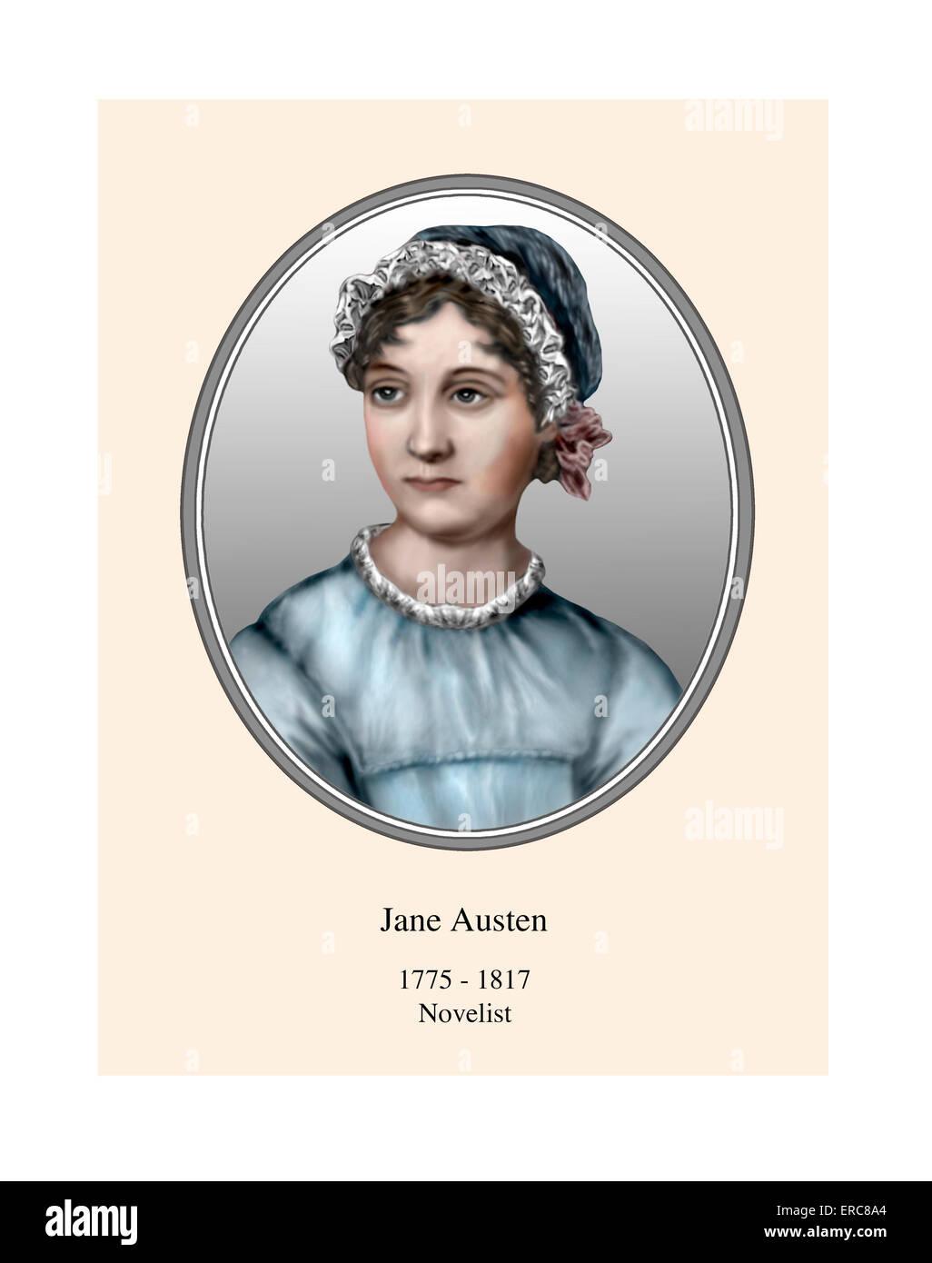 Jane Austen retrato ILUSTRACIÓN MODERNA Imagen De Stock
