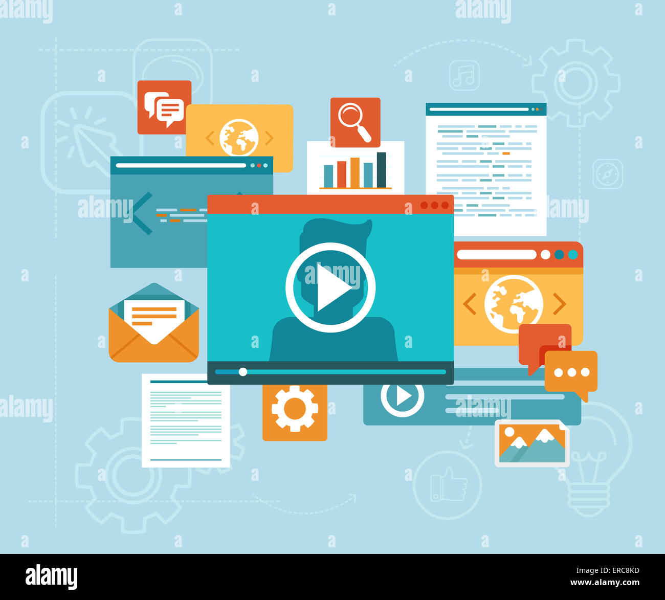 Concepto de e-learning en estilo plano - Seminario en línea y contenido digital iconos Imagen De Stock