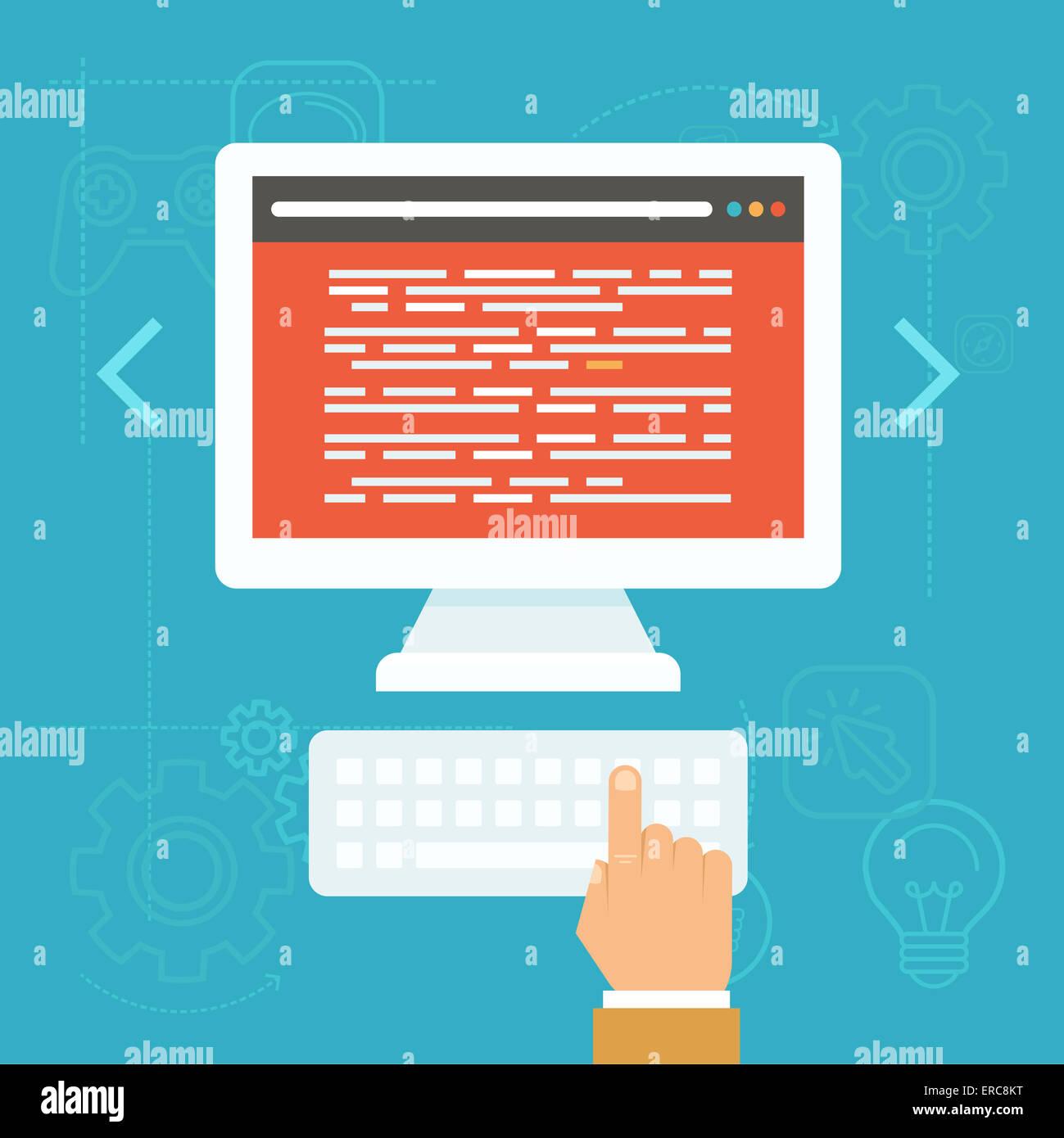 Concepto de pruebas de software en estilo plano - código fuente en la pantalla del ordenador Imagen De Stock