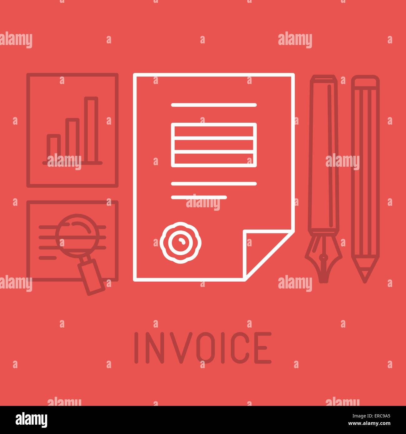 Concepto de factura en el estilo de esquema - bill icono con sello pagado Imagen De Stock