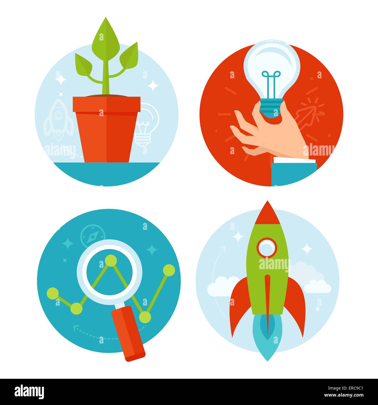 Desarrollo personal y crecimiento empresarial conceptos en estilo plano - Infografía de iconos y elementos Imagen De Stock