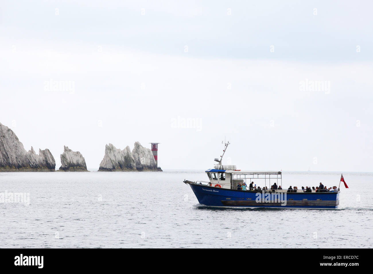Agujas cruceros de placer, Yarmouth Rose turista viaje en barco para visitar las agujas en la Isla de Wight Imagen De Stock