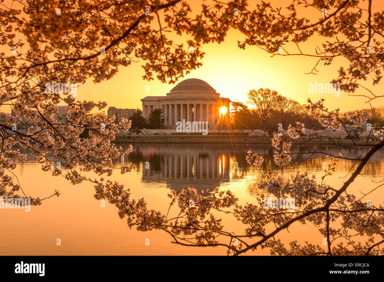 Washington, DC, en el Tidal Basin y el Jefferson Memorial durante la primavera. Imagen De Stock