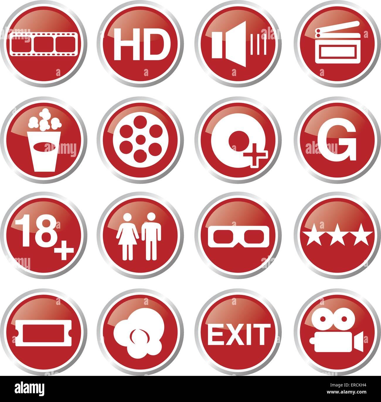 Película de cine y conjunto de iconos Imagen De Stock