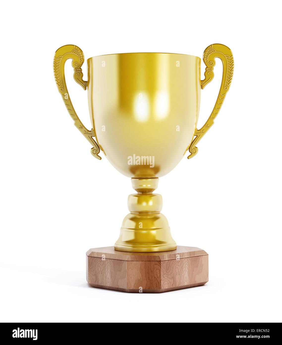 Aislada de la copa de oro sobre fondo blanco. Imagen De Stock