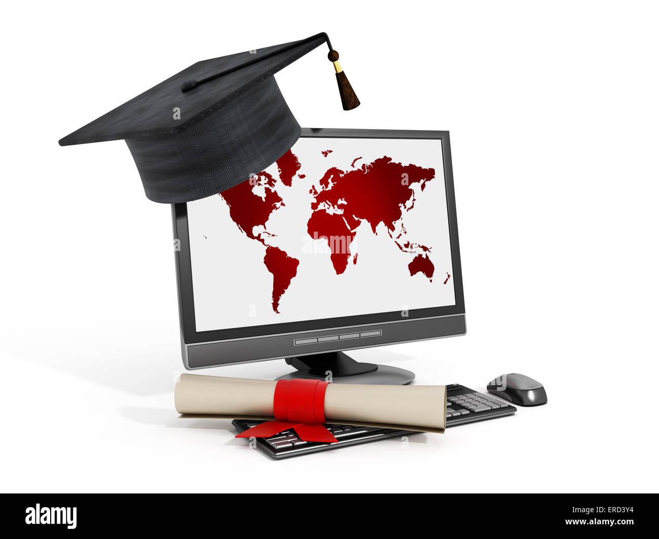 Concepto de educación en línea con equipo y mortarboard. Imagen De Stock