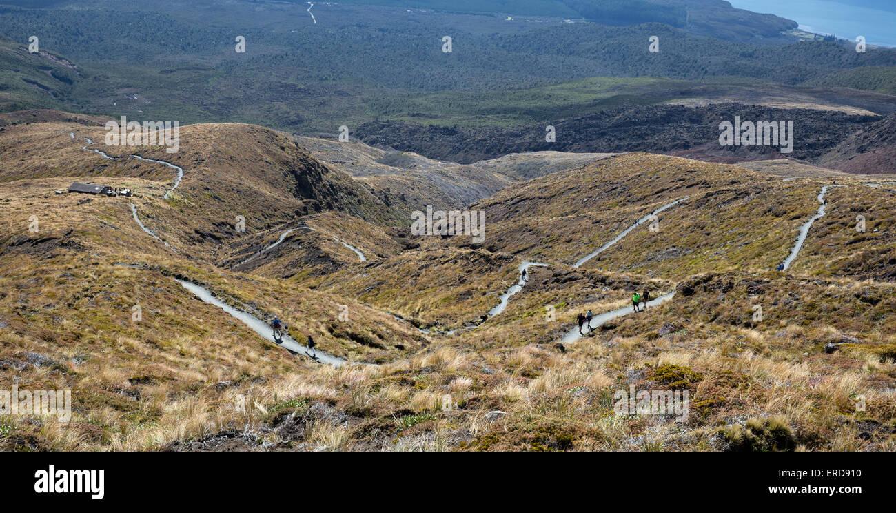 Sendero serpenteante hacia abajo la parte inferior de las laderas del Monte Tongariro en el Tongariro Alpine Crossing Foto de stock