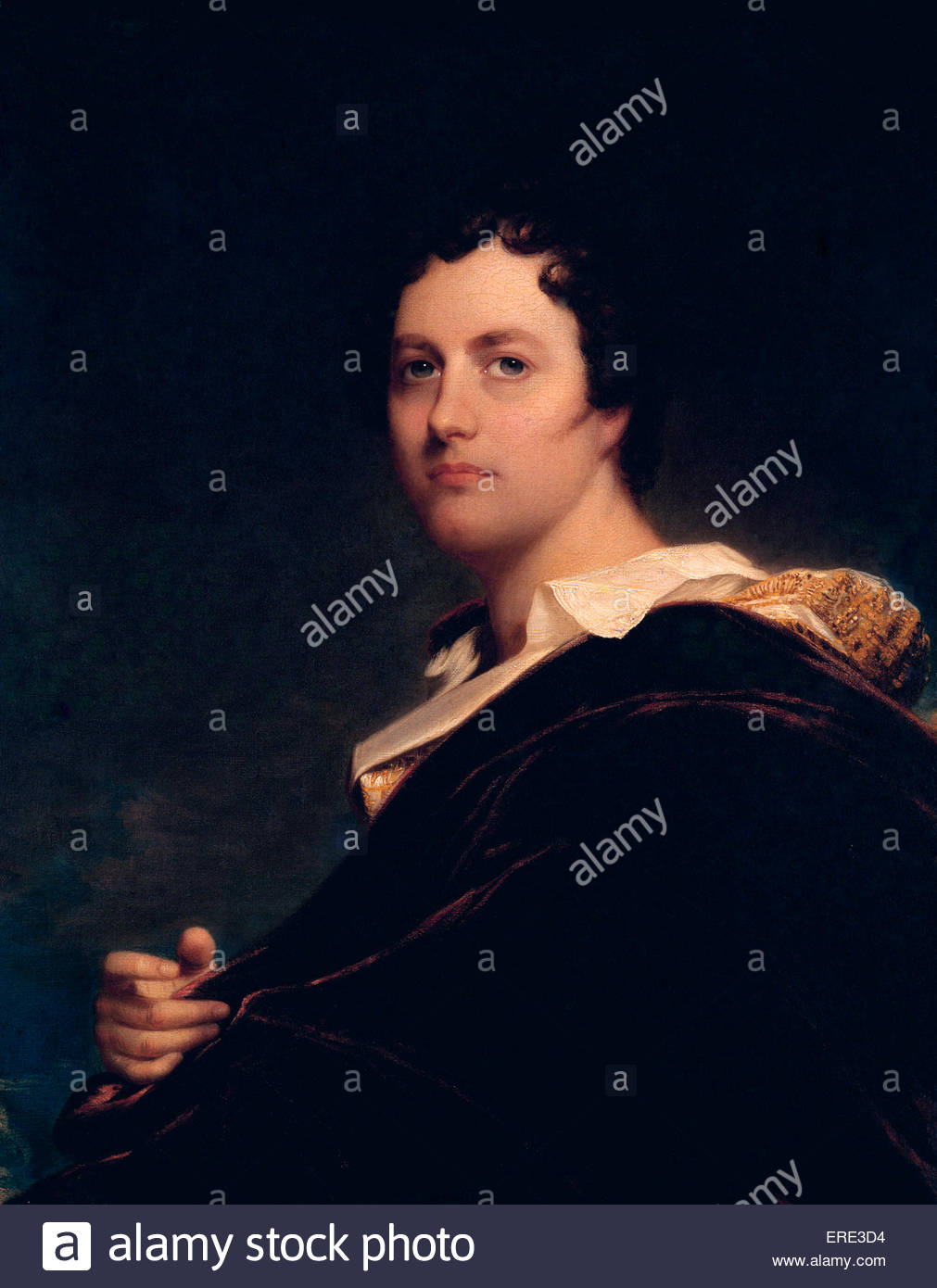 Lord Byron, óleo de William Edward West, 1822. George Gordon Byron, sexto Lord Byron de Rochdale, poeta británico: Imagen De Stock