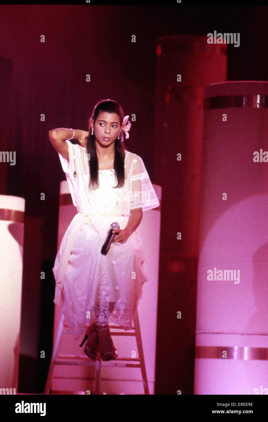 Irene Cara, realizando en Los Angeles, Estados Unidos. Actriz norteamericana y músico, cantante, compositor Imagen De Stock