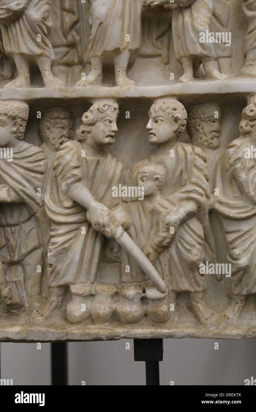 Milagro de Jesús. Convirtiendo el agua en vino. Boda en Caná. Alivio. Sarcófago romano. A principios Imagen De Stock