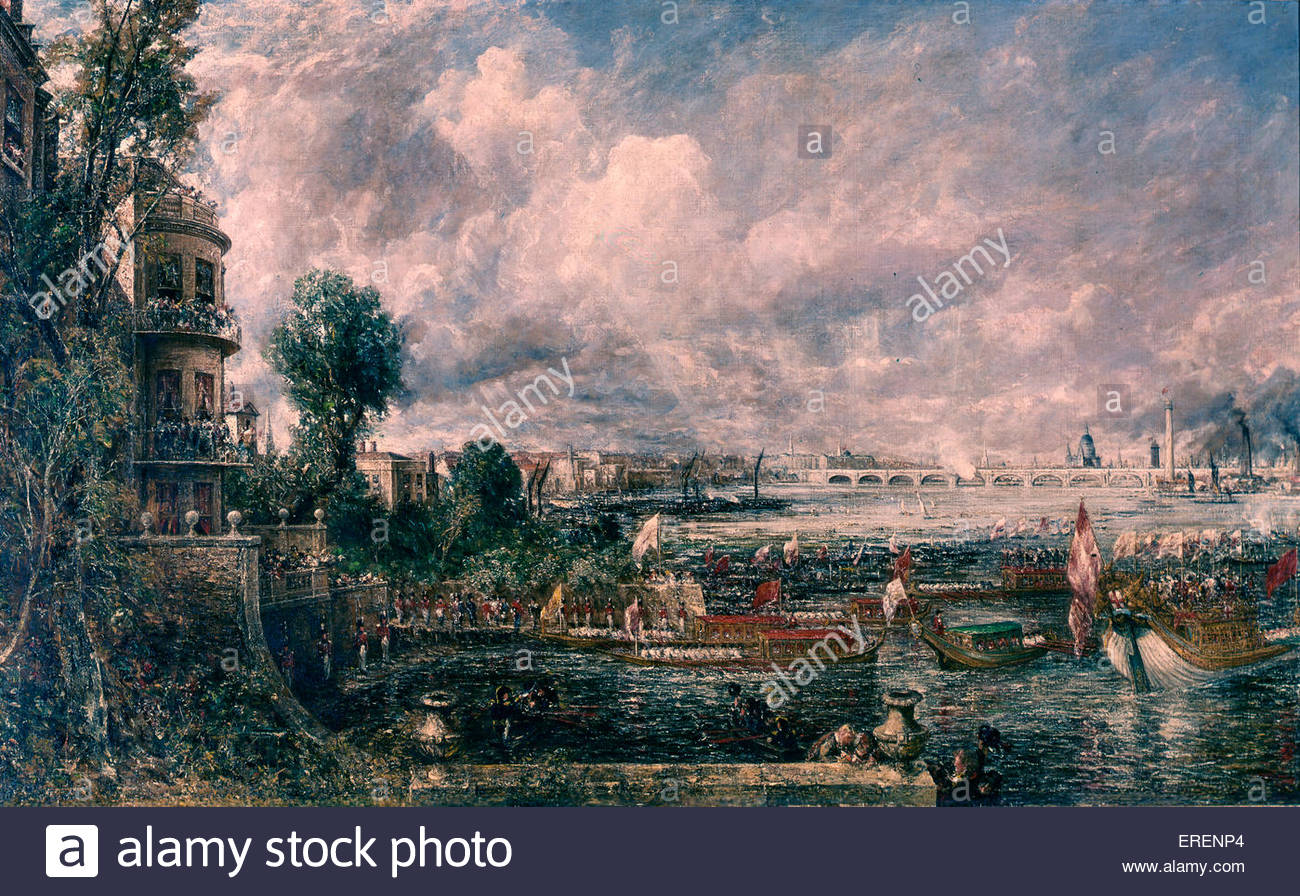 """La apertura de Waterloo Bridge ('Whitehall escaleras, Junio 18th, 1817""""), de John Constable, exhiben 1832. Imagen De Stock"""