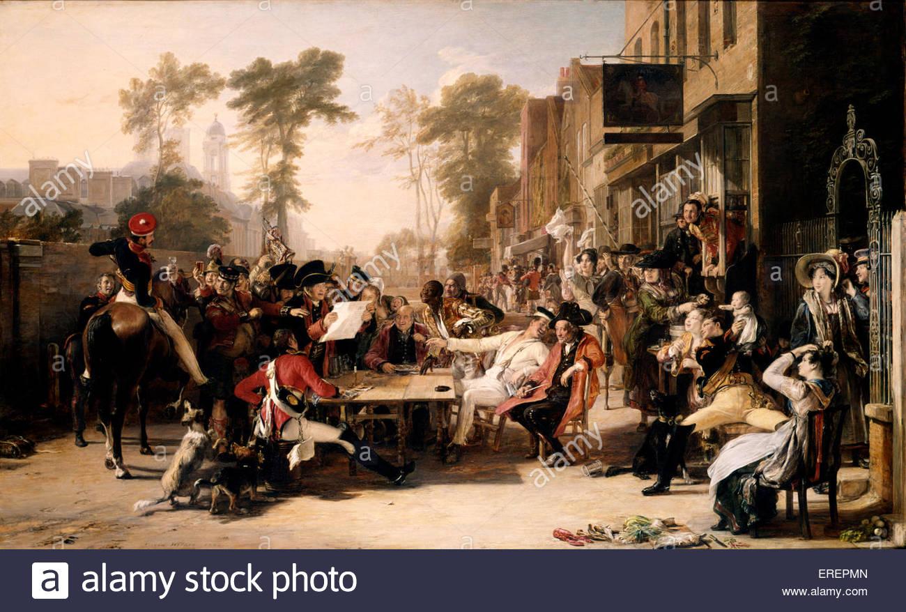 Chelsea pensionistas leer el despacho de Waterloo por Sir David Wilkie, 1822. SDW: pintor escocés, el 18 de Imagen De Stock