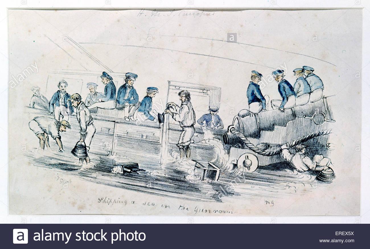 Los marineros en pistola habitación - cartoon naval. Se desconoce la fecha. Imagen De Stock