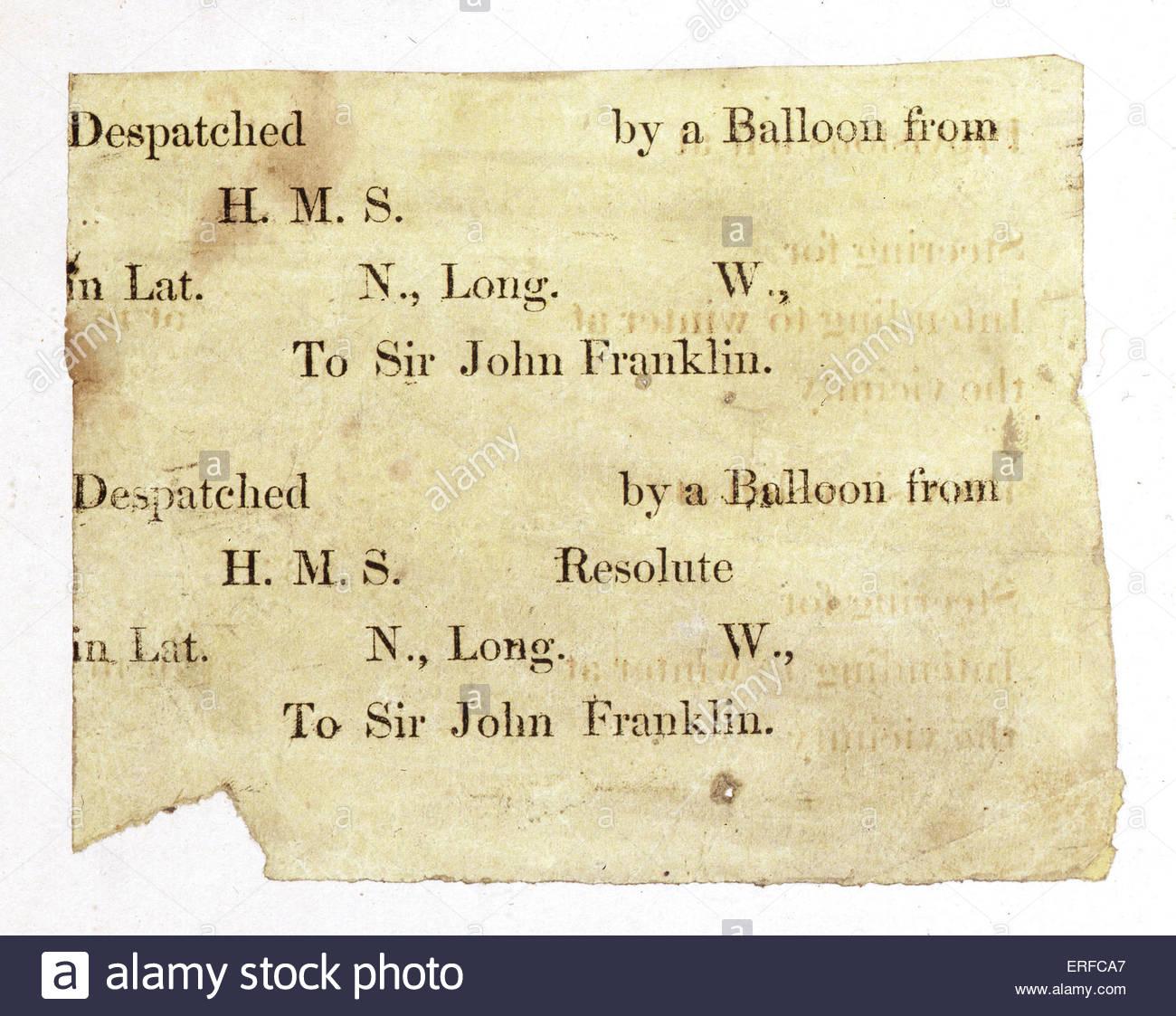 Mensaje una vez acoplado a un globo desplegado en la búsqueda de Sir John Franklin, Oficial de la Marina Real Imagen De Stock