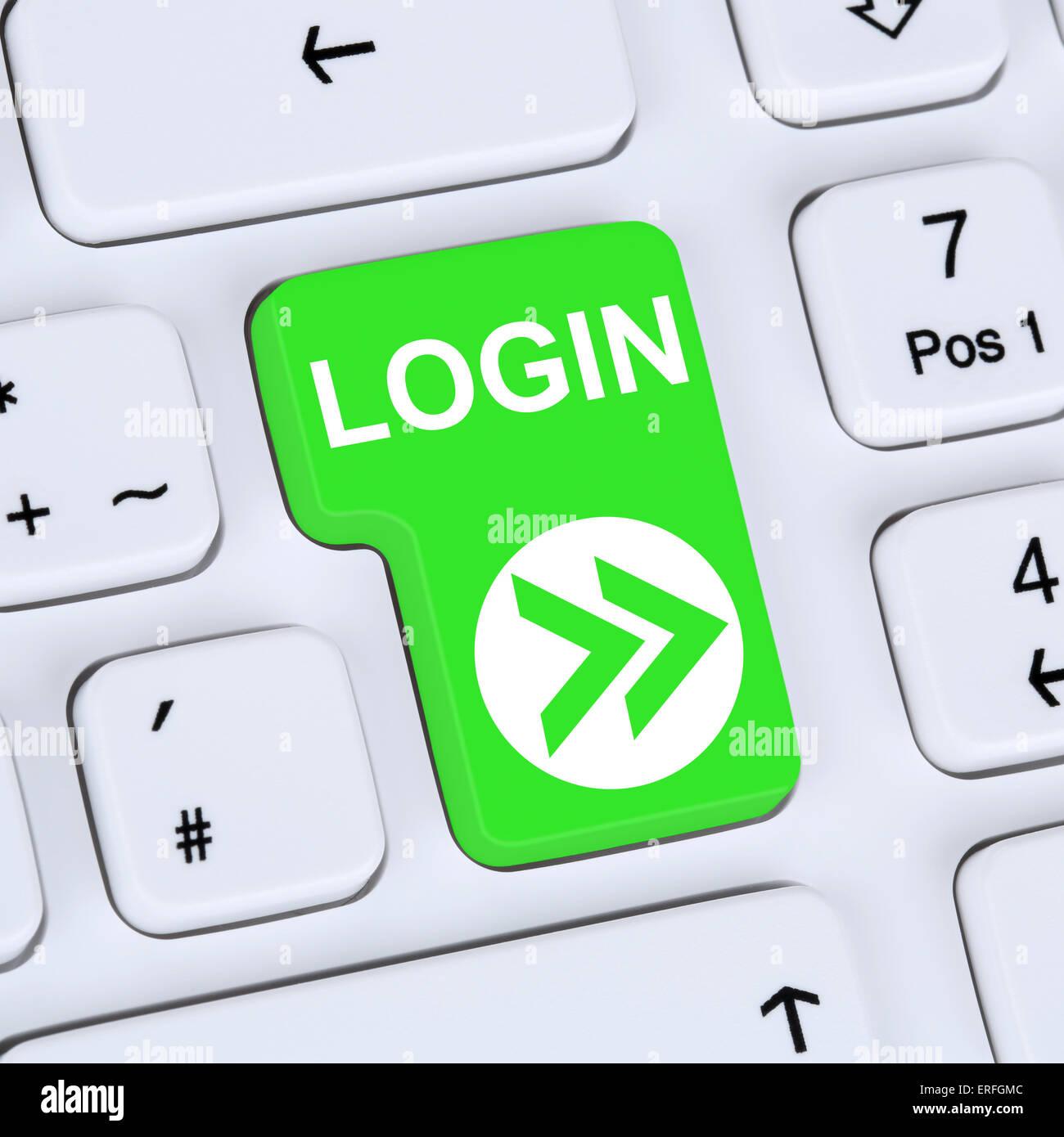 Concepto de Internet login botón Submit con contraseña en el equipo Imagen De Stock