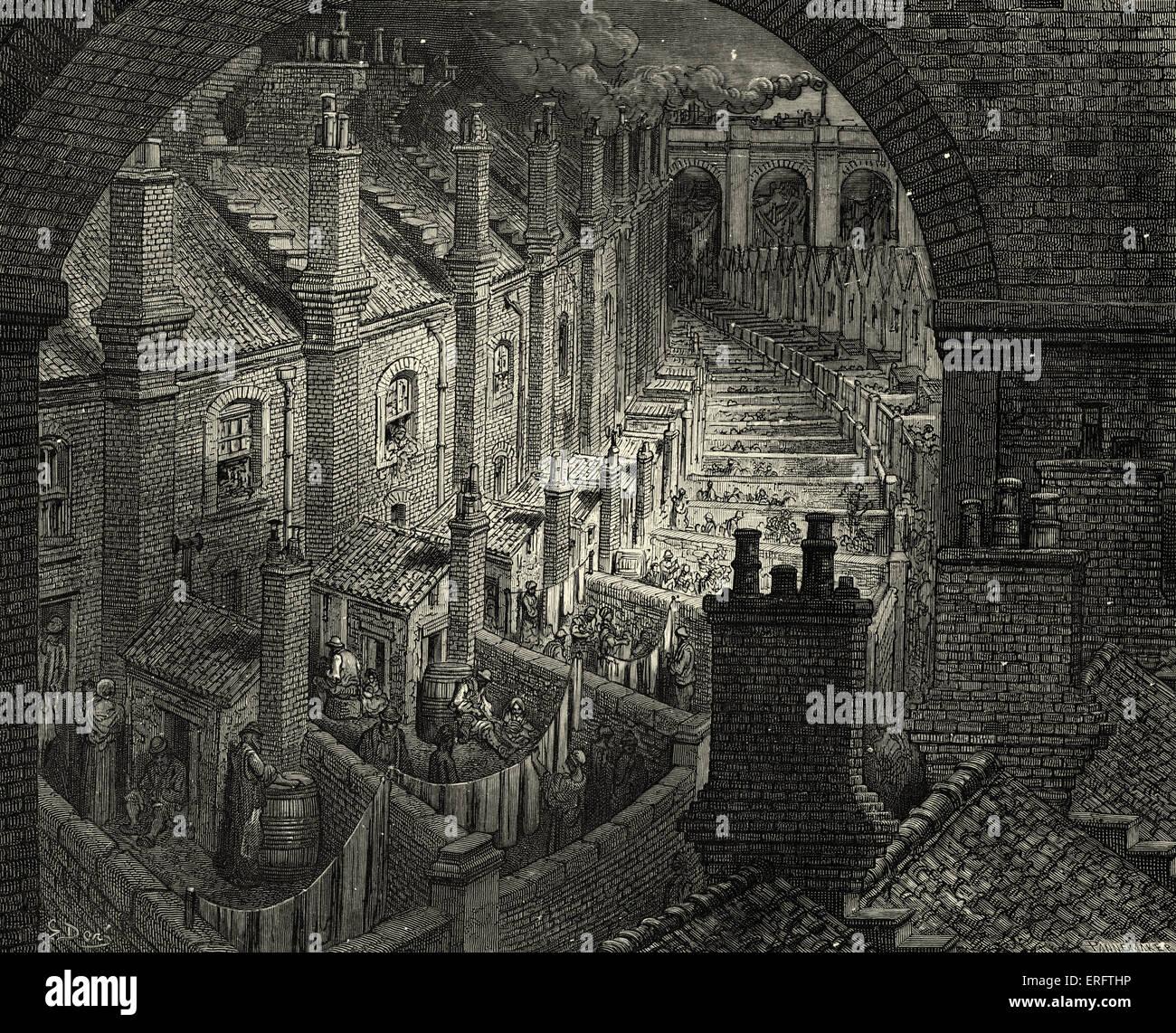 El Londres Victoriano Calles Con Espalda Terrazas Grabado