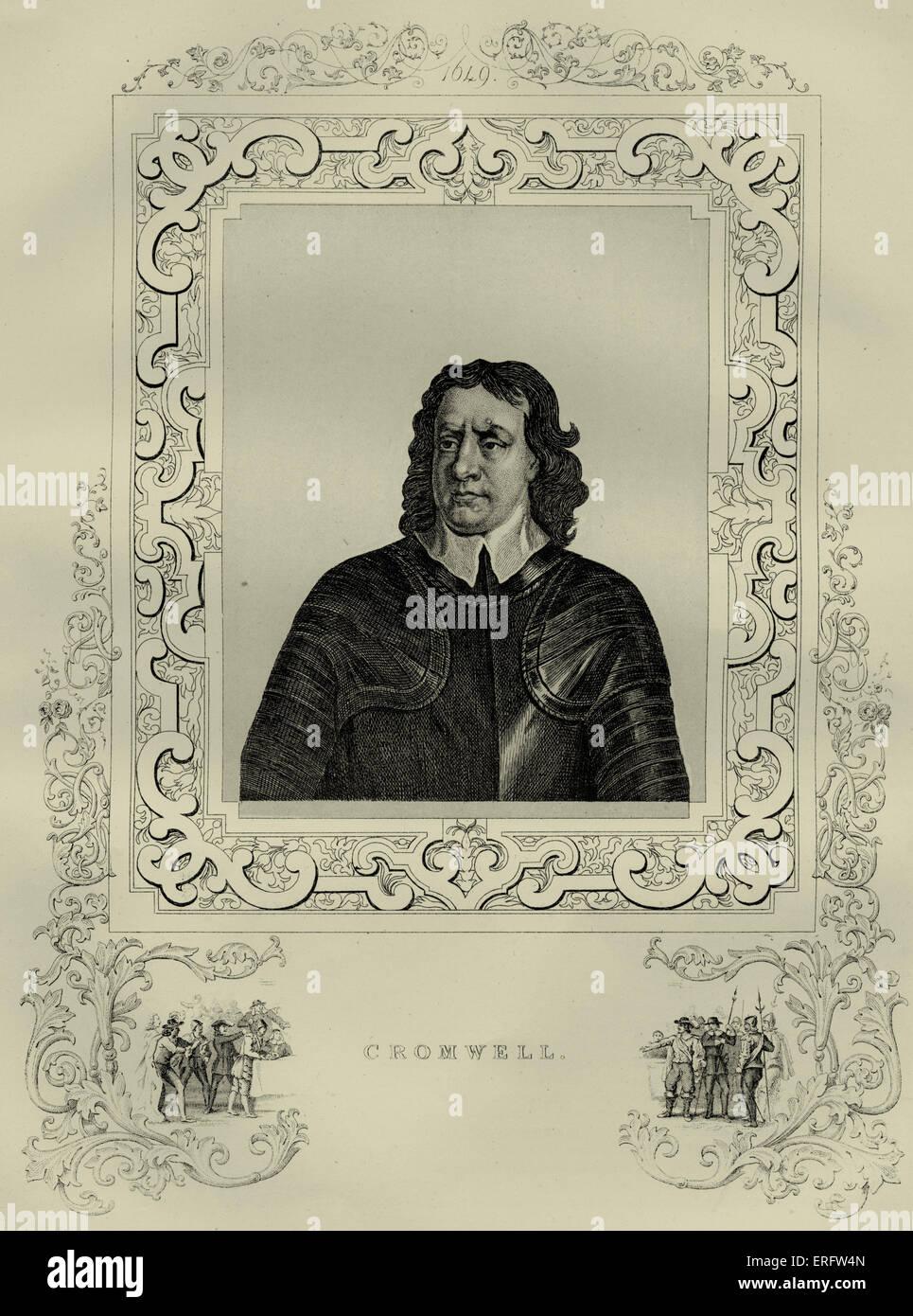 Oliver Cromwell (1599 - 1658) fue un líder político y militar inglés mejor conocido por su participación en la toma Foto de stock