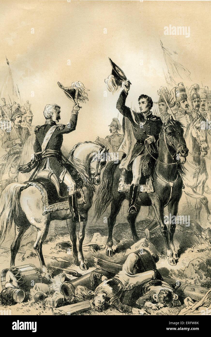 La Reunión de Wellington y Blucher en Waterloo. Wellington llevó al ejército británico y Blucher Imagen De Stock