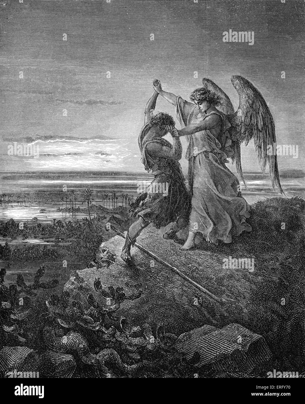 Jacob lucha con el ángel en Génesis 32: 24 -29. Dibujado por Gustave Doré, artista francés, Imagen De Stock