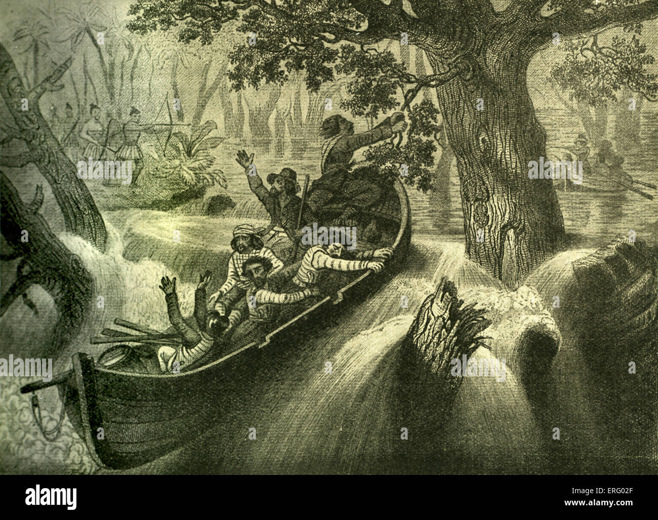 Ravenau de Lussan y sus compañeros capturados en los rápidos Imagen De Stock
