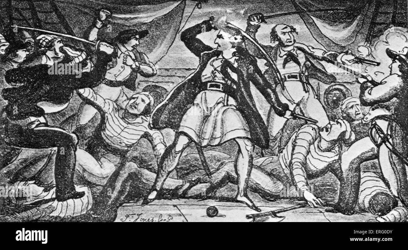 """""""Lucha en un barco pirata', imprimir. Los piratas los combates con espadas sobre la cubierta de un barco. Foto de stock"""