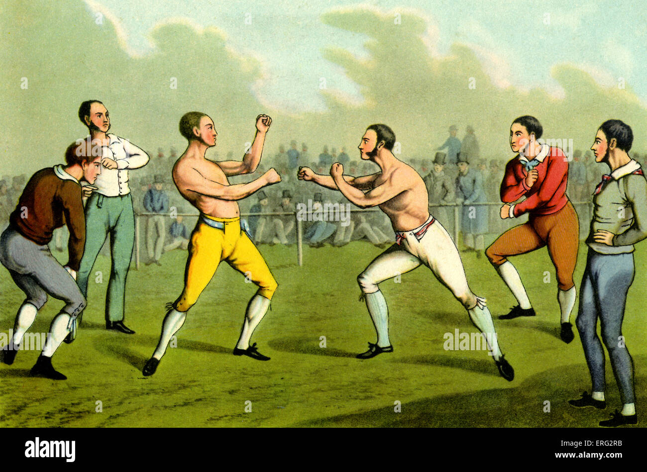 Bare knuckle boxeo. Grabado por Henry Alken artista británico el 12 de octubre de 1785 - 7 de abril de 1851. Imagen De Stock