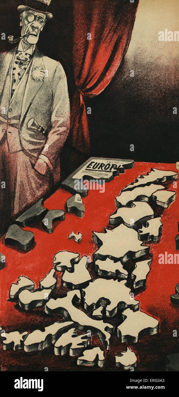 Ataque Nazi en concepto de Paneurope propuesto por el Conde Richard Nikolaus von Coudenhove-Kalergi Eijiro. Le disgustaba Imagen De Stock