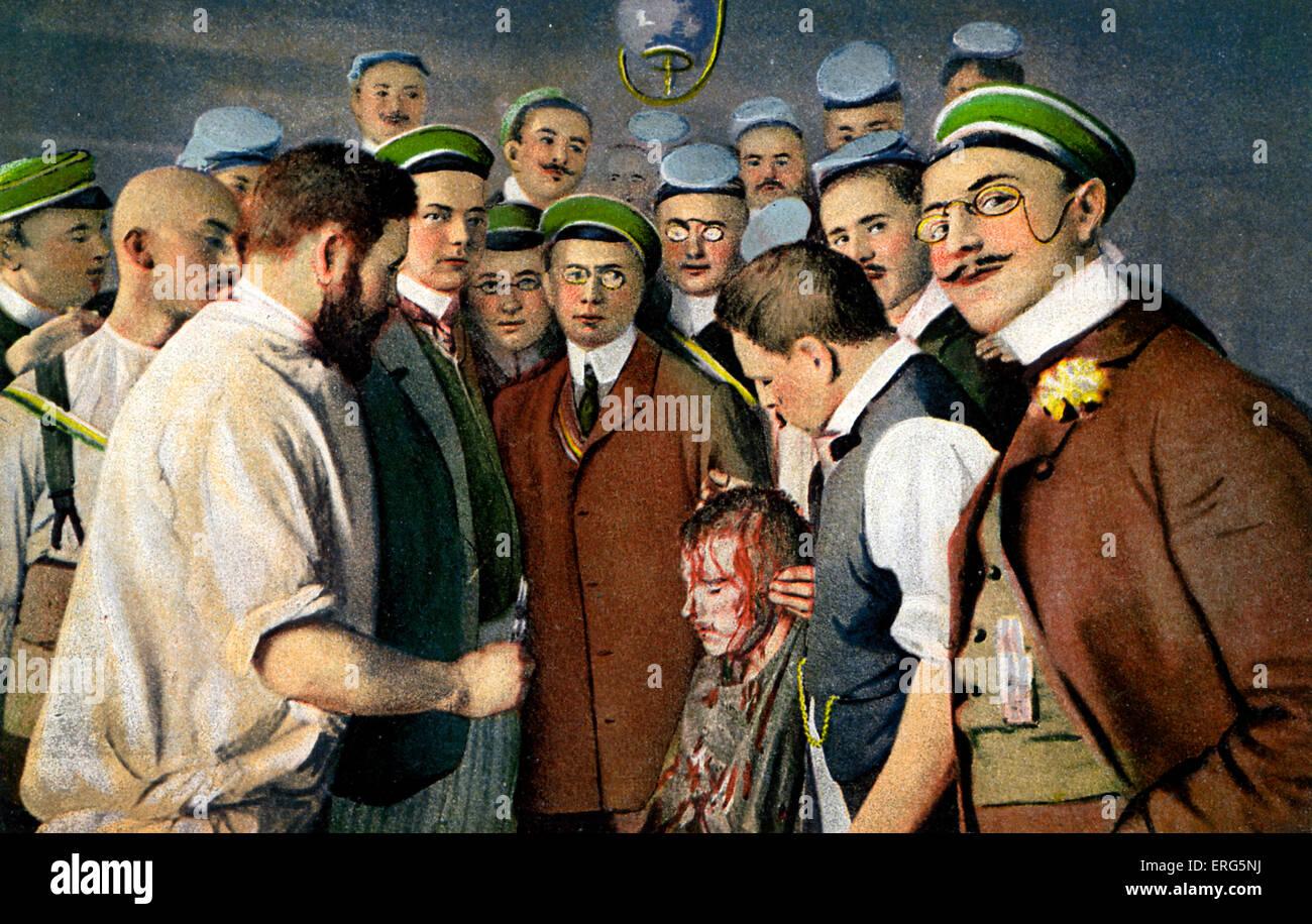 """Club de Esgrima de la Universidad de Heidelberg. Con fecha de 1908. Título reza: """"Aus dem Heidelberger Imagen De Stock"""