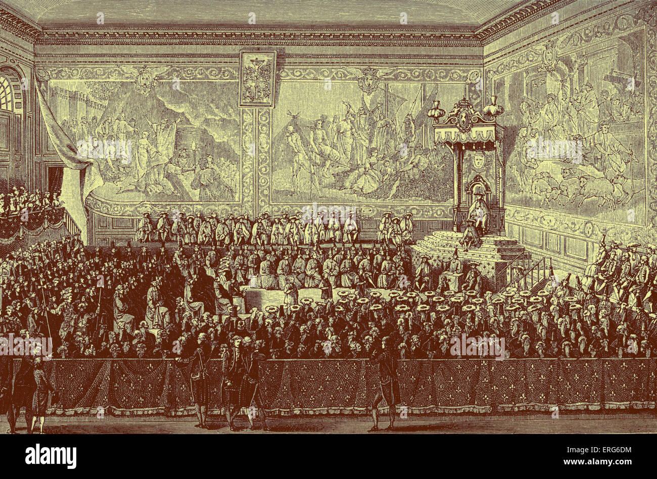 Luis XV, rey de Francia: la cama de justicia celebrada en Versalles, en 1776. Símbolo del poder político sobre el sistema judicial. Foto de stock