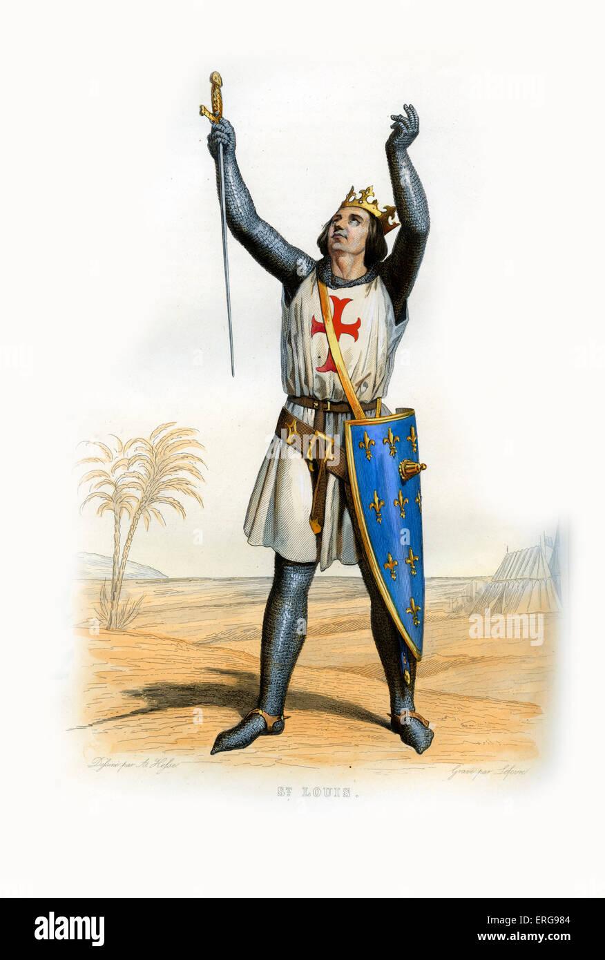 Luis IX de Francia, conocido como Saint Louis. Rey de Francia (1226-1270). 1215-1270. Grabado por Lefevre, c.1844. Foto de stock