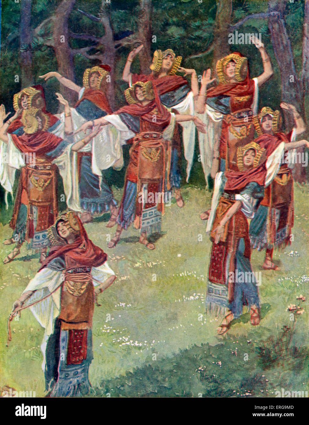 """La hija de Jefté y sus compañeros por J James Tissot. Ilustración para libro de Jueces, 11.37: """"Y Imagen De Stock"""