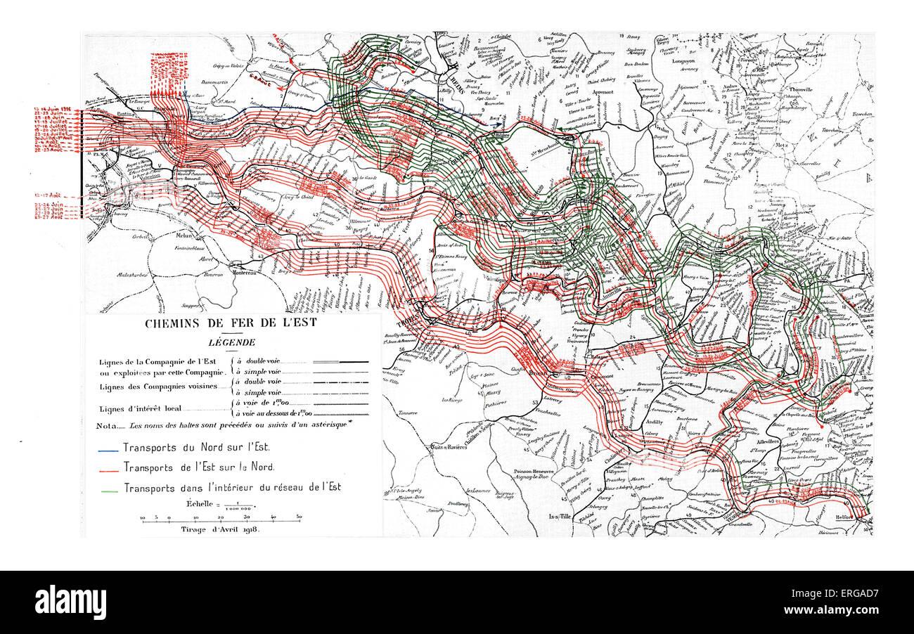 Batalla De Verdun Mapa.Mapa Para El Transporte Ferroviario Para Las Tropas En La