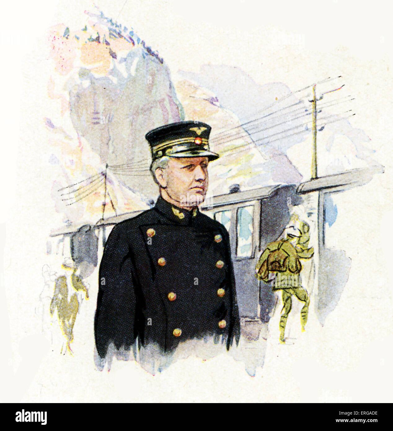 Los uniformes del personal ferroviario, 1920-30s: estación suiza de maestro. Imagen De Stock