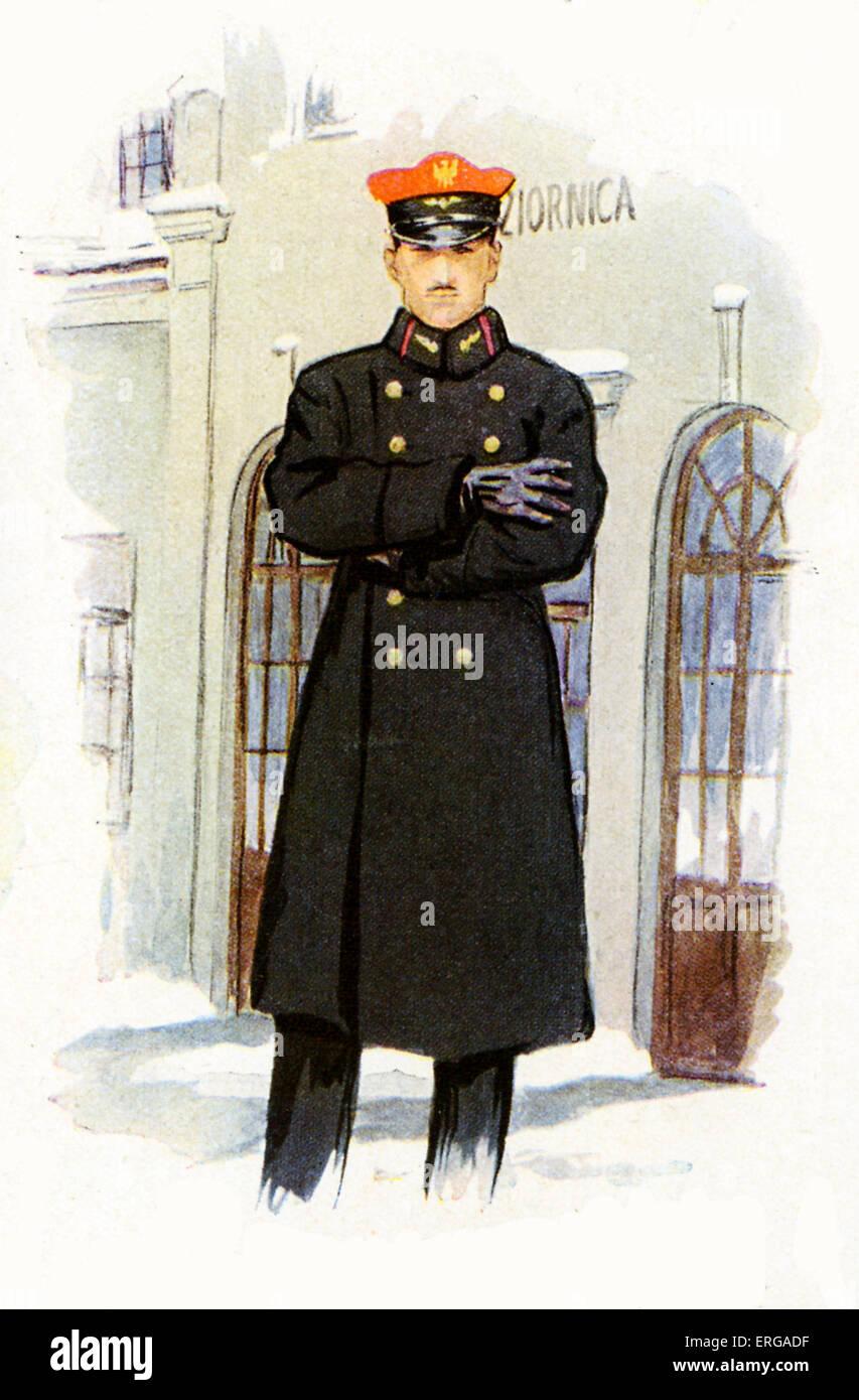 Los uniformes del personal ferroviario, 1920-30s: estación ferroviaria polaca master Imagen De Stock
