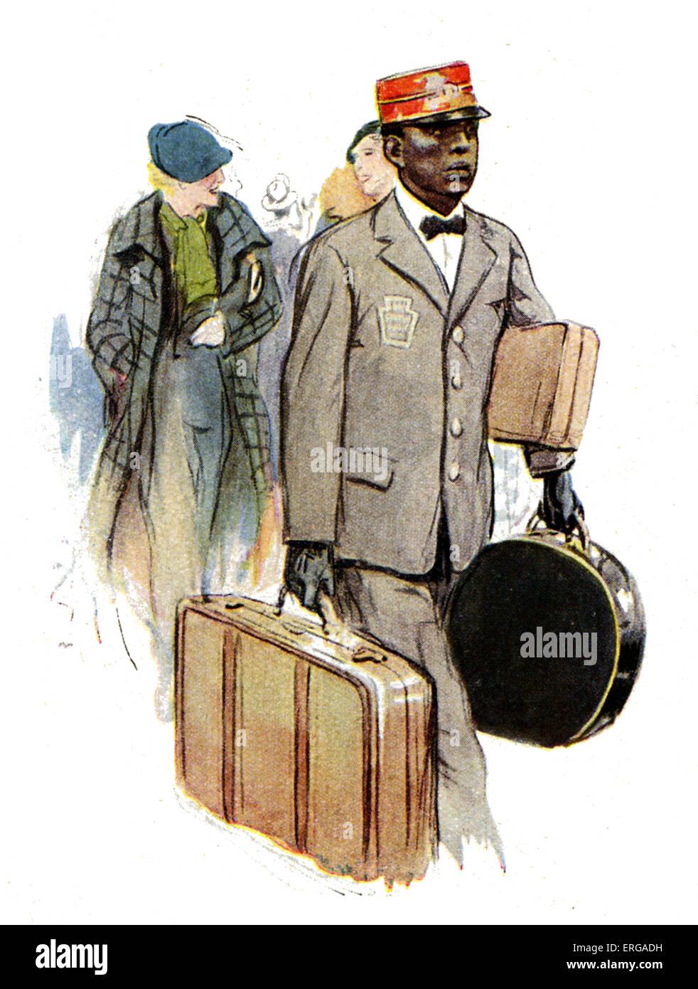 Los uniformes del personal ferroviario, 1920-30s: American transit railway station porter. Imagen De Stock