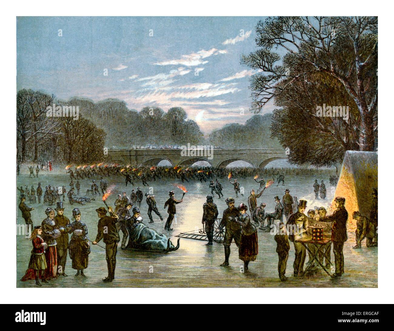 Entretenimiento en serpentina congelados, el 1 de enero de 1870. Río, lago Serpentine en Hyde Park, Londres. Imagen De Stock