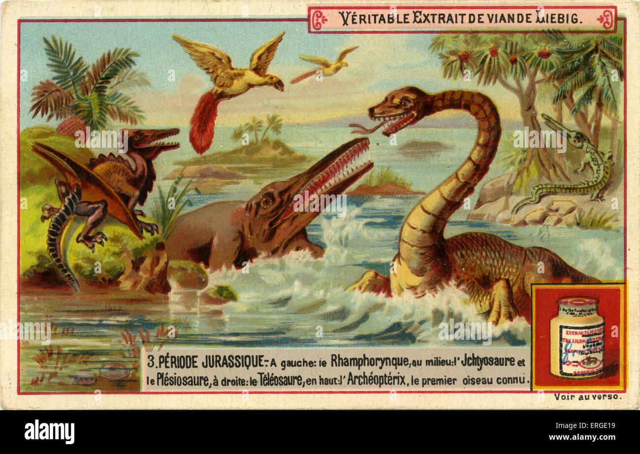 Periodos geológicos. Publicado 1892. Período jurásico ('Periode jurassique'). Traducción: Imagen De Stock