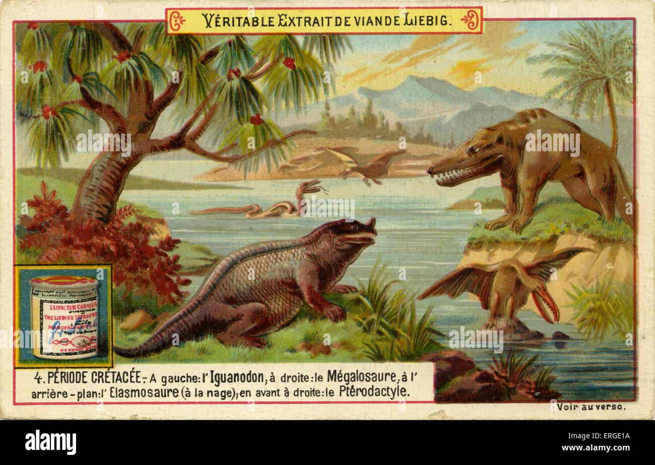 """Periodos geológicos. Publicado 1892. Período Cretácico ('Periode crétacée'). Traducción: """"Izquierda: Iguanadon, Foto de stock"""