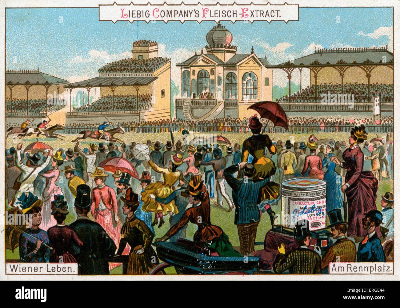 """El hipódromo. El título dice: """"Soy Rennplatz'. Siglo xix en Viena. Serie de tarjetas Liebig: Imagen De Stock"""