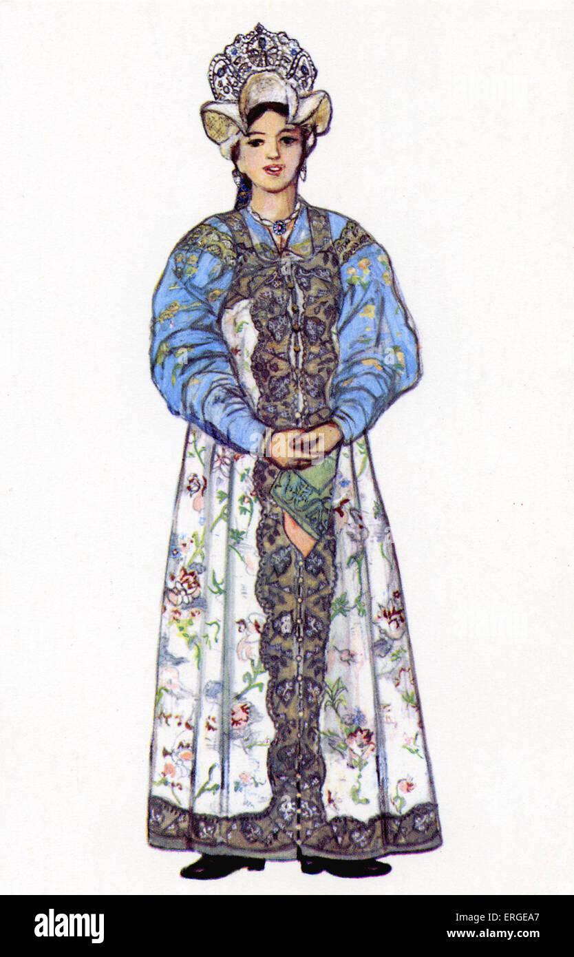 1d79e0140 Vestido tradicional rusa - Ilustración por N. Vinogradova. Mujer de ...