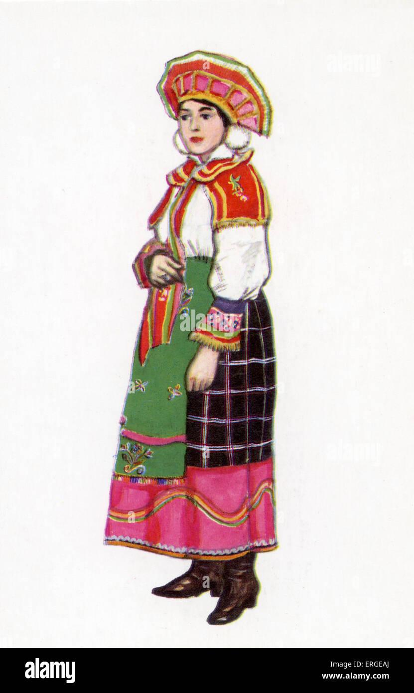 3ea46ce80 Vestido tradicional rusa - Ilustración por N. Vinogradova. Mujer en ...